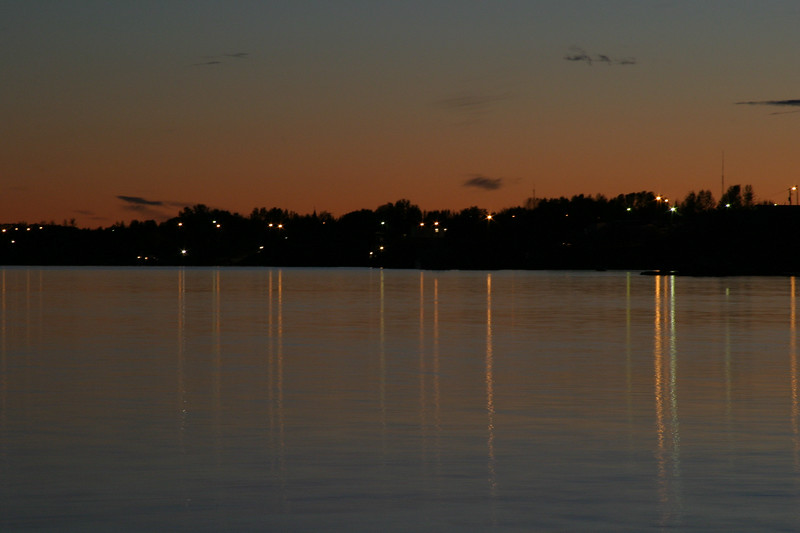 The lights of Moosonee at sunset 2004 September 27