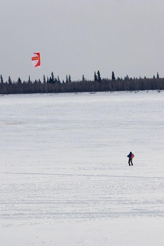 2006 February 8 kite flying over the Moose River at Moosonee.