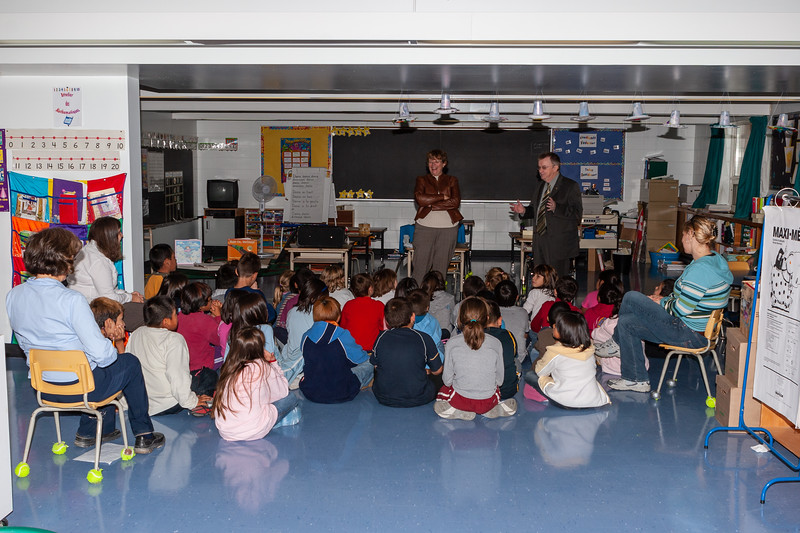 Author Nancy Hartry is greeted at Bishop Belleau School by principal, teachers and students 2005 September 19