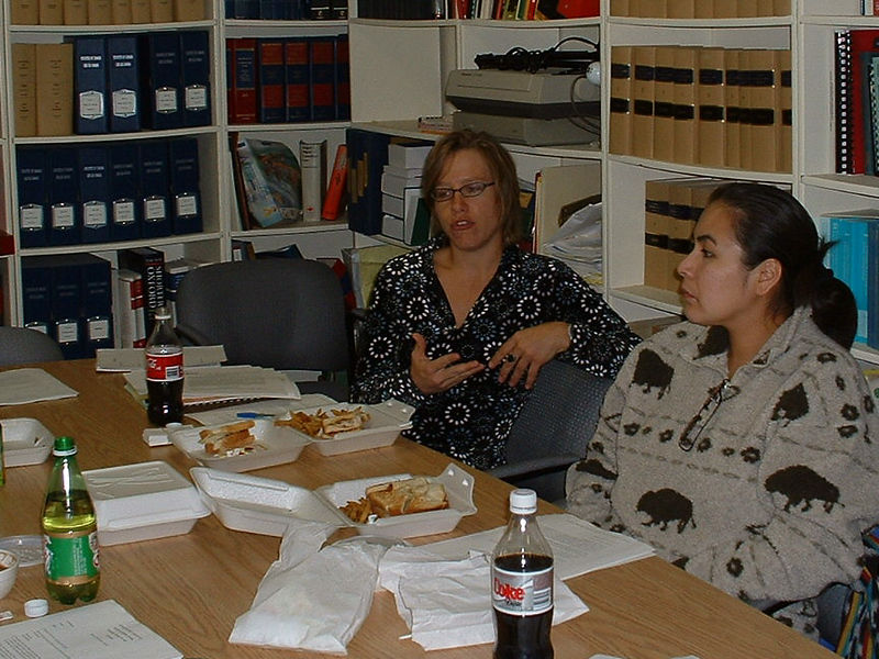 Dana Milne and Donna Ashamock at Keewaytinok Native Legal Services meeting 2004 October 20.