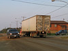 Truck on Bay Road near railway crossing in Moosonee. 2003 September 10