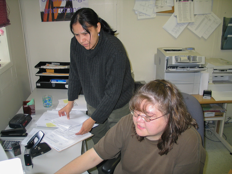 Loretta Loon and Trina Hookimaw at reception desk 2004 July 14