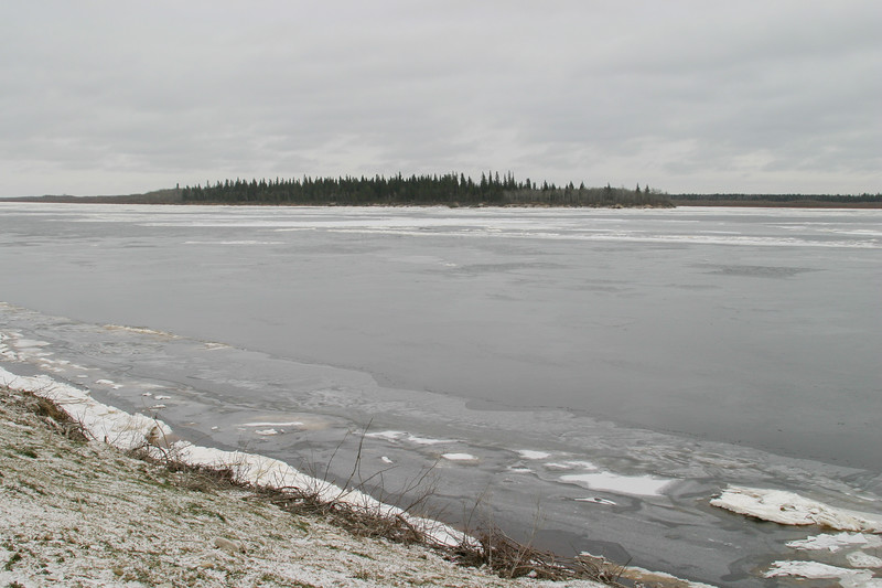 View towards Butler Island 2004 November 25. The Moose River is iced over today.