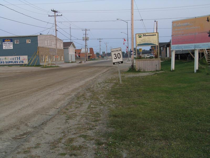 First Street in Moosonee looking from near train station.