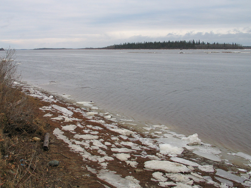 Stranded ice along the shoreline looking down river in Moosonee. 2003 November 19th.