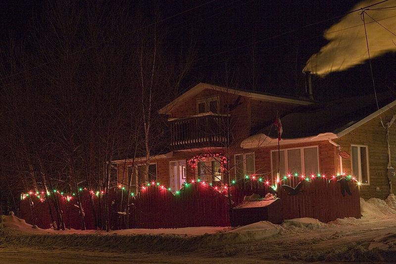 Christmas lights and smoke