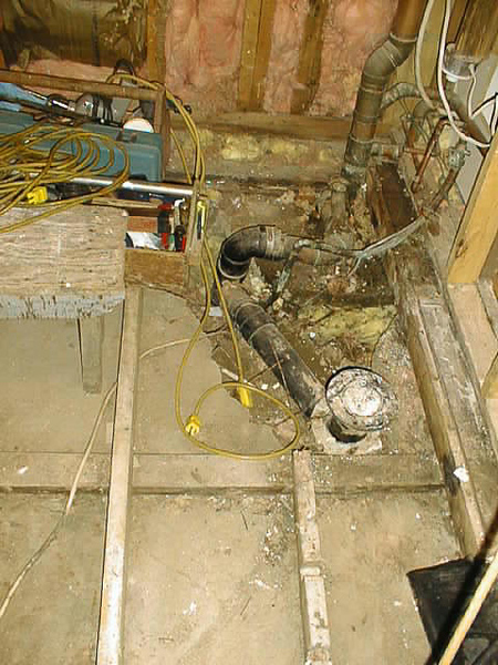 Clinic apartment bathroom floor 1999 August 4