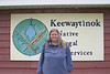 Laura Howarth at Keewaytinok Native Legal Services in Moosonee 2004 August 13th.