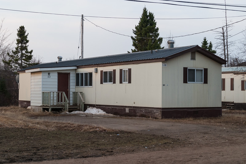 53 Bay Road Moosonee. Trailer originally purchased by Ontario Legal Aid Plan and later transferred to a provincial government agency when staff could not afford rent and utilities payments requested.