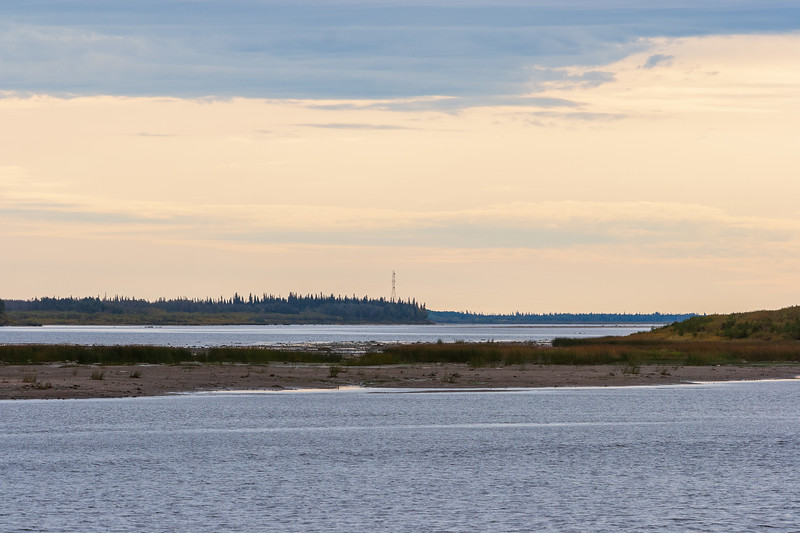 Looking up the Moose River towards the hydro towers 2004 September 24
