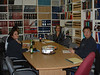 Meeting in library at Keewaytinok Native Legal Services 2004 October 20: Priscilla Ashamock,, Dana Milne, Victor Mitchell