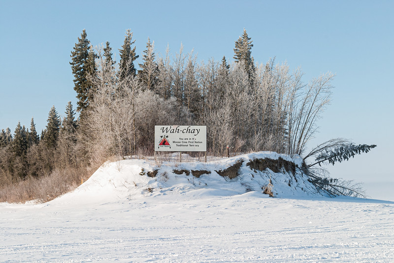 Frosted trees at the end of Charles Island South 2005 March 14. Moose Cree First Nation Traditional Territory sign.