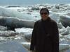Loretta Loon in front of breakup ice in Moosonee 2003 May 6
