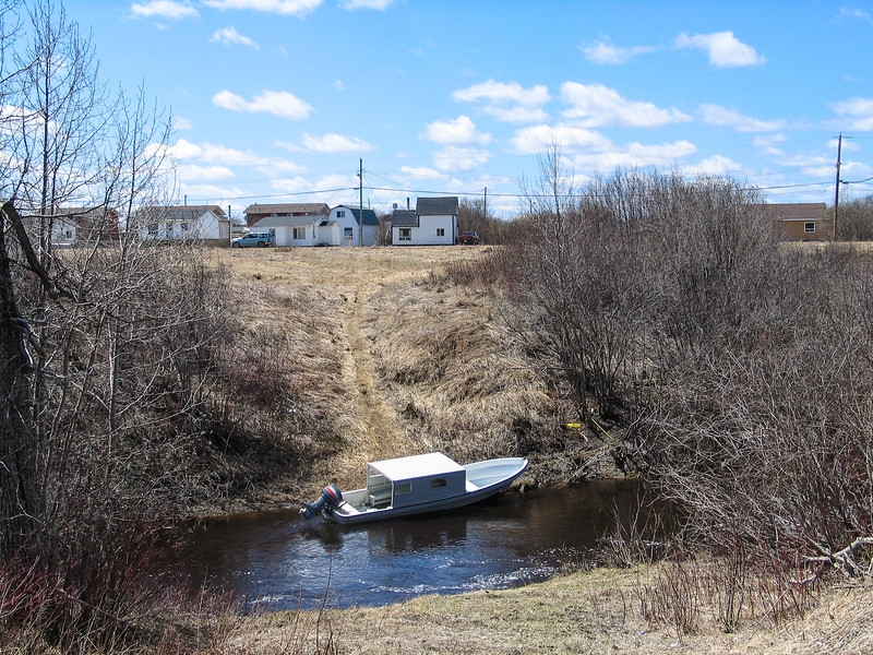Covered boat anchored on Store Creek. Gardiner Road in background.