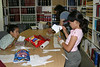 Alexander, Heather and Tori Nootchtai in library making banner for their mother Susan's birthday 2004 July 29