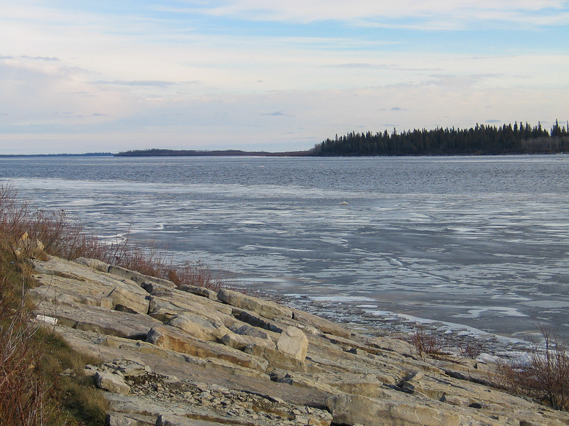 Ice along the edge of the Moose River 2003 November 20