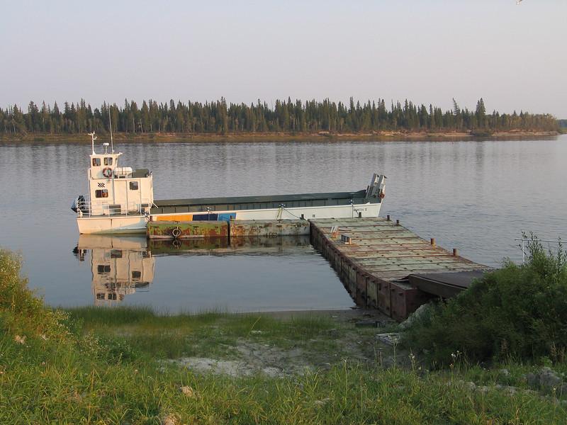 Ontario Northland barge Manitou Island II docked at Moosonee. This barge provided service between Moosonee and Moose Factory.