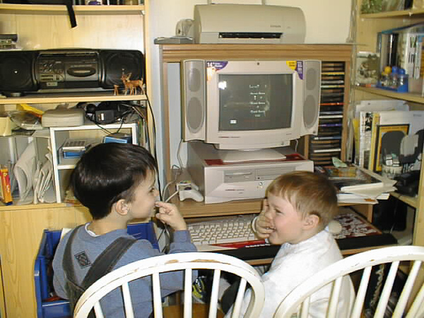 David Hunter and Colby Tozer playing with computer 1998 November 21.