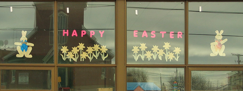 Window at Northern College daycare in Moosonee decorated for Easter 2004 April 8