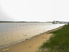 Moose River shoreline looking up river towards Two Bay docks showing sandy area 2003 August 19