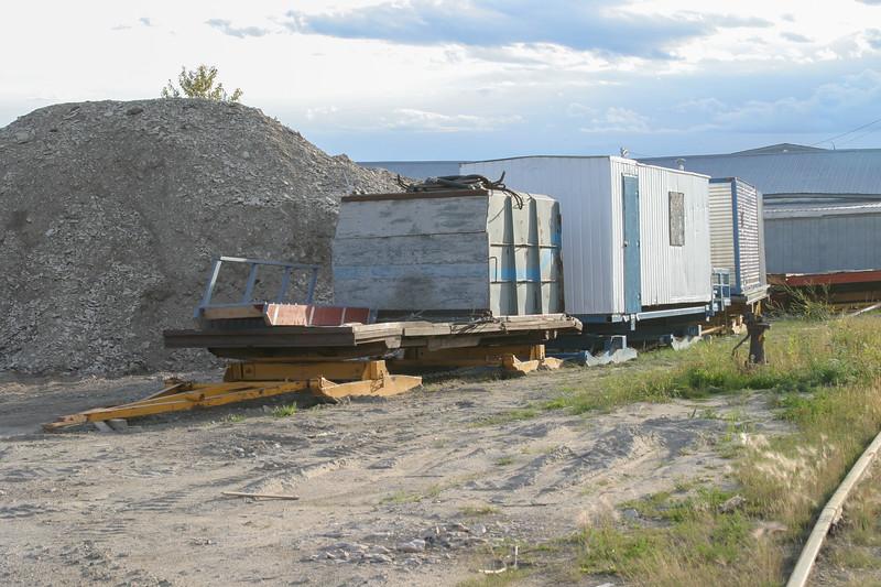 Tractor train sleds near barge docks in Moosonee 2004 September 26