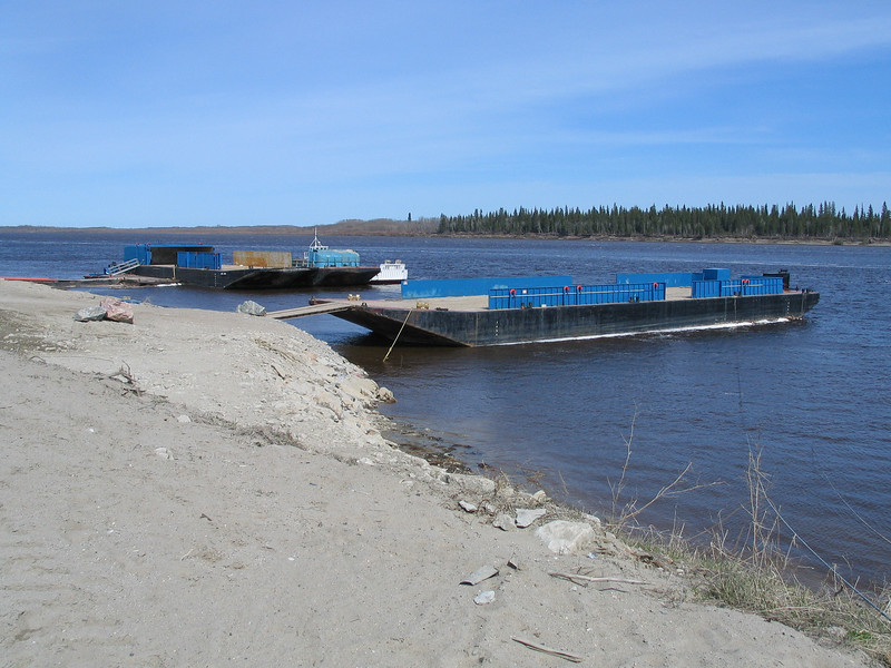 Four barges, three Moosonee Transportation Limited units plus the Manitou Island II that operates between Moosonee and Moose Factory. 2004 May 24th.