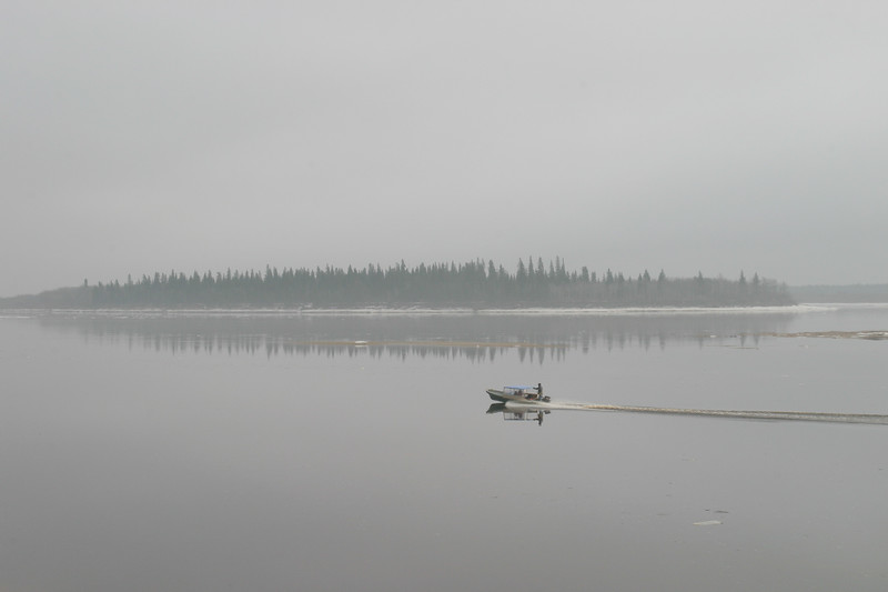 Taxi boat on the Moose River in fog 2004 November 17