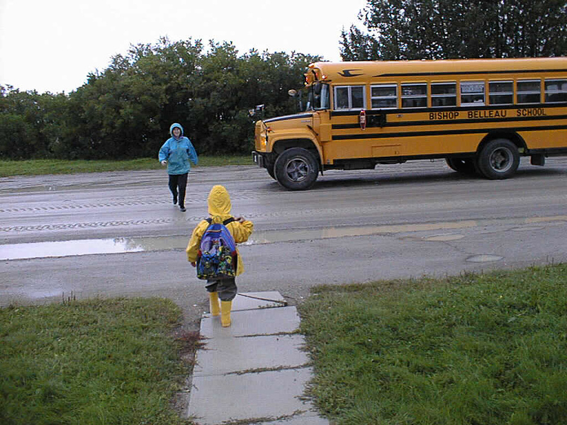 David Hunter walking out to school bus on first day of school 1998 August 28