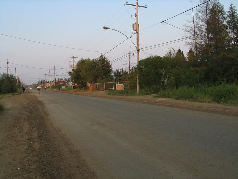 Bay Road in Moosonee looking towards track crossing from near Butcher Street.