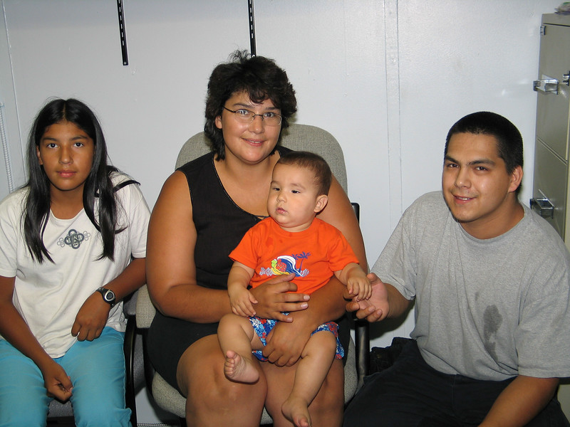 Ashley, Loretta, baby and Aaron in Mary Blueboy's office 2003 August 26