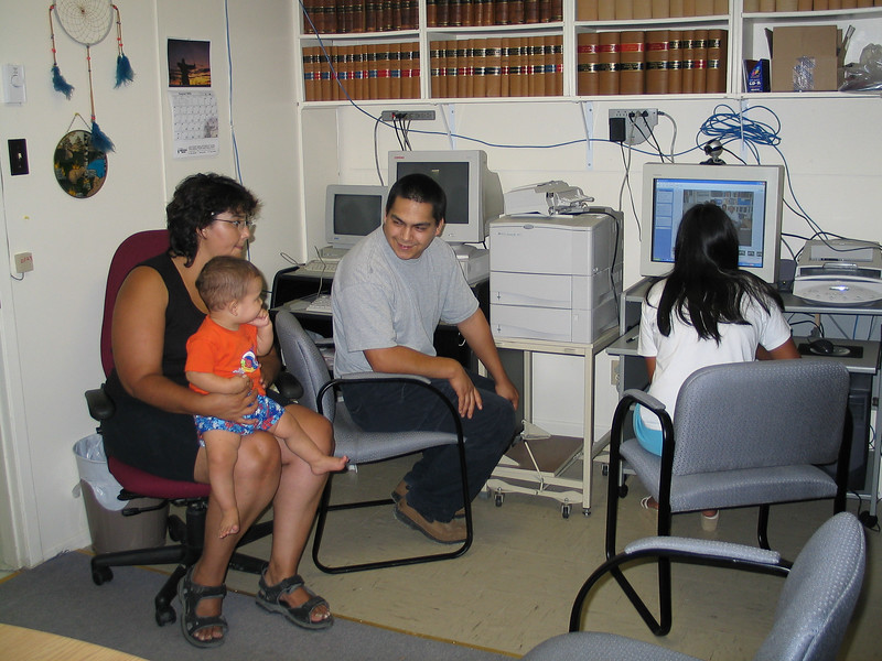 Loretta, baby, Aaron and Ashley in library 2003 August 26