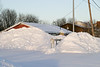 Keewaytinok Native Legal Services seen over snow piles in Ontario Government Building parking lot 2005 January 8
