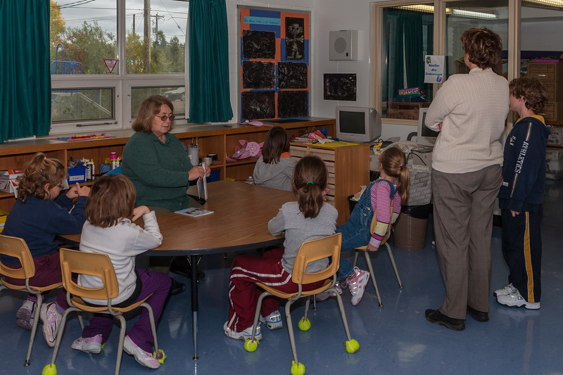Author Nancy Hartry with students at French Language Instruction Unit Bishop Belleau School 2005 September 19