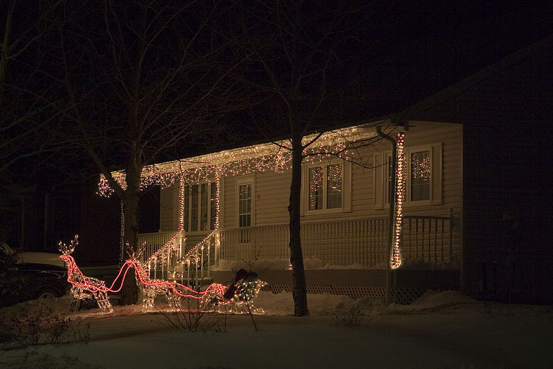 Christmas lights 2005 December 5 lights and decorations at a house on Revillon Road in Moosonee.