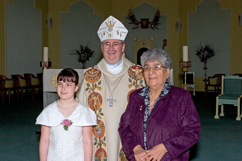 Bishop Cadieux with Josie Carr and Sandra Carr 2005 May 29