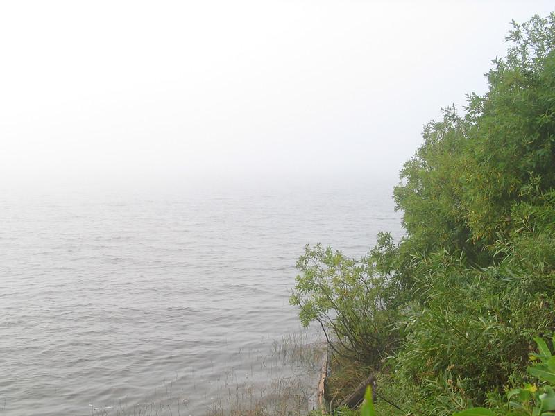 Moose River shoreline on a foggy morning.