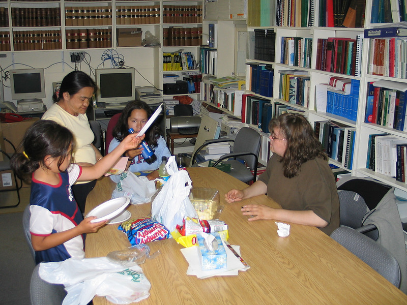 Tori, Mary Nootchtai, Heather and Trina Hookimaw in library 2004 July 14