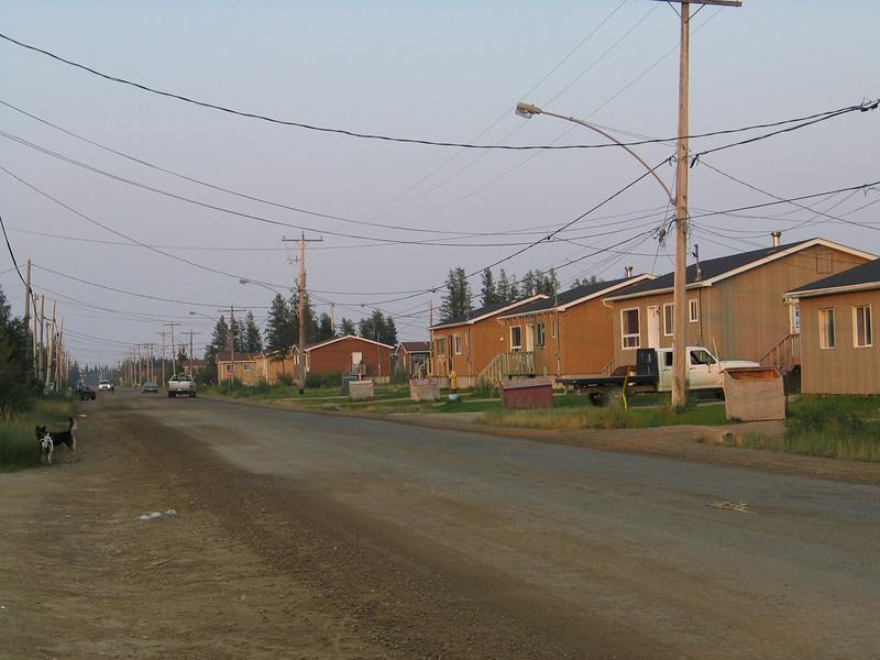 Bay Road in Moosonee looking towards railway crossing.