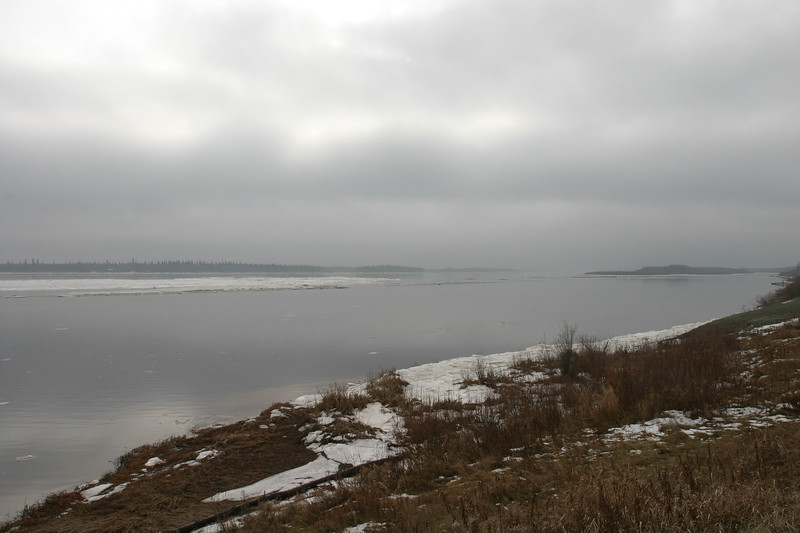 Looking up the Moose River on a foggy afternoon 2004 November 17.