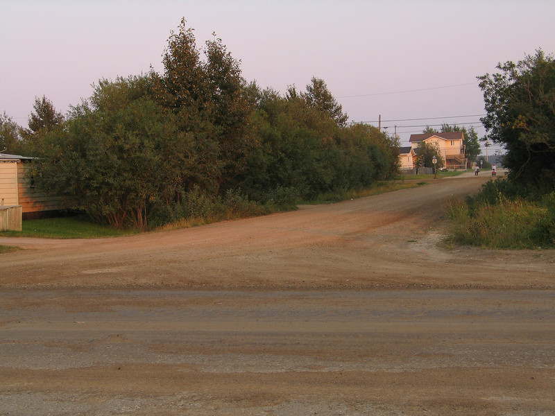 Butcher Street in Moosonee looking towards river from Bay Road.