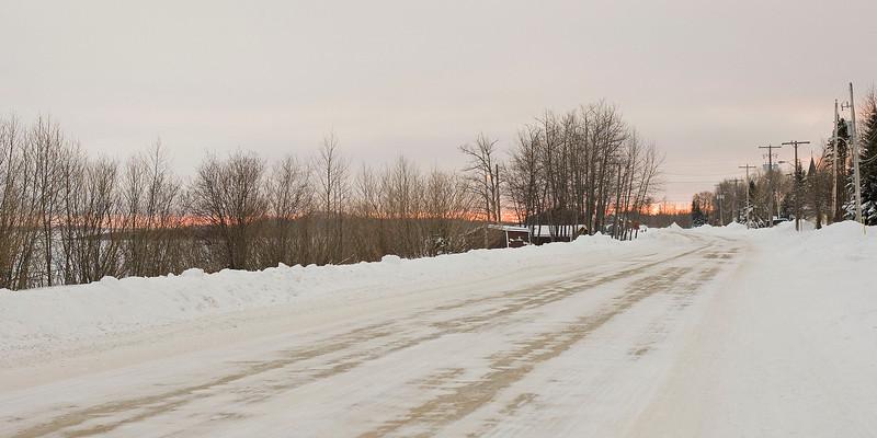 Revillon Road North in Moosonee, Ontario looking south
