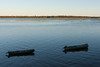 Two canoes on the Moose River. Looking towards Charles island.