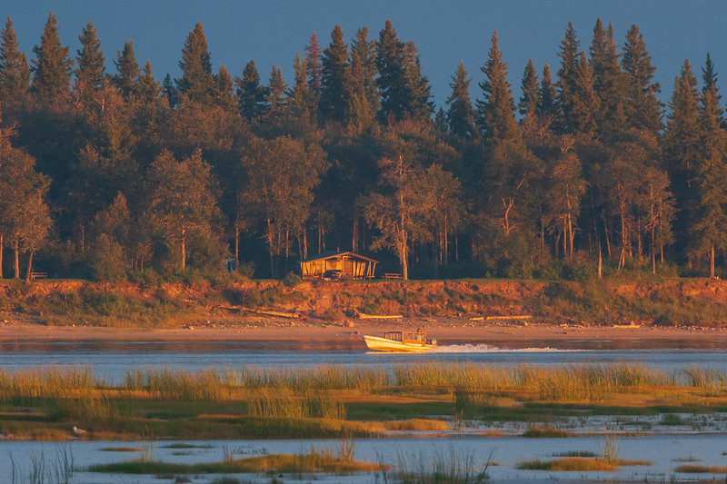 Taxi boat passing open shelter on Charles Island at Tidewater Park 2005 September 1 750 pm