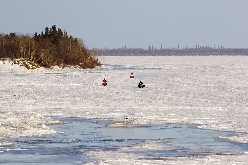 Snowmobiles on the Moose River