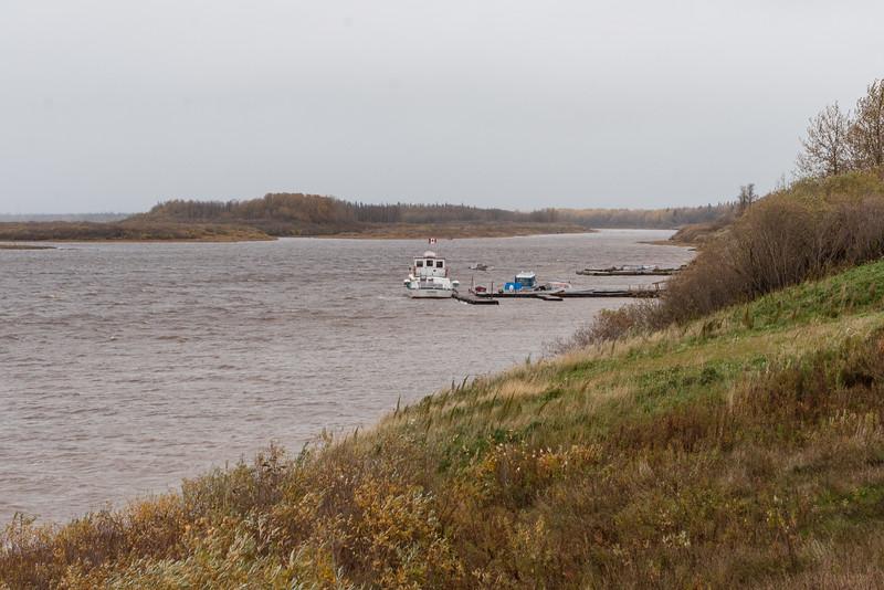 Docks in Moosonee. Polar Princess, Medical Transfer boat and taxi boats visible. Looking up the river.