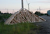 Trusses stored at train station in Moosonee 2006 July 29th.