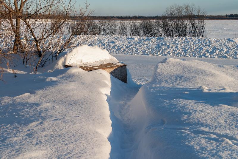 Pathway through snow to garbage box 2005 January 25.