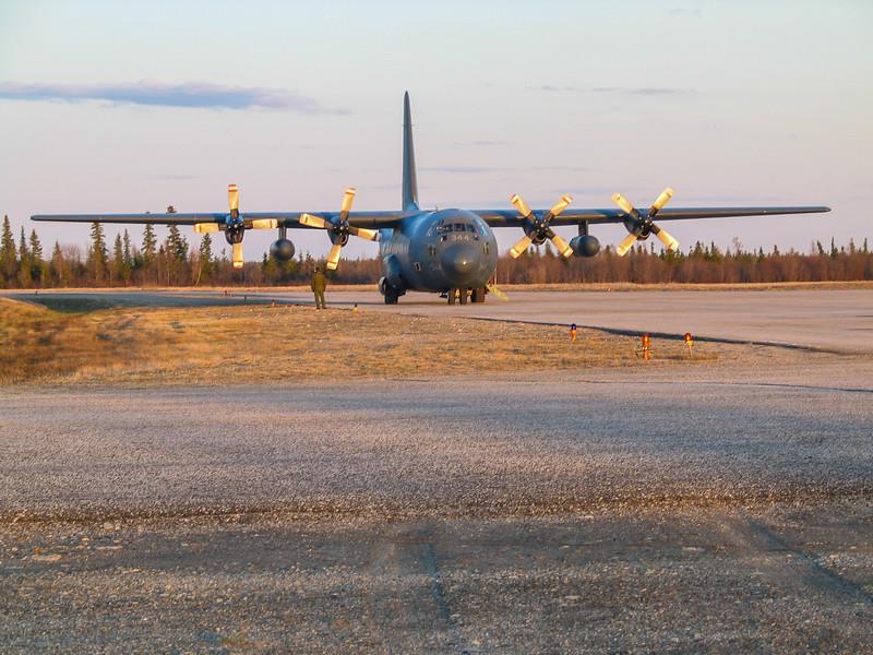 C-130 Hercules at Moosonee Airport for evacuation from Attawapiskat flooding. 2004 May 21