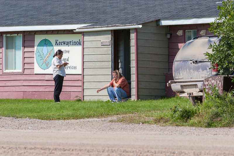 Mary Blueboy and Trina Hookimaw outside Keewaytinok Native Legal Services. 2005 August 26.