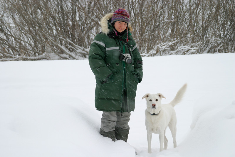 Carole Ferrari in Moosonee with her dog Floppy.